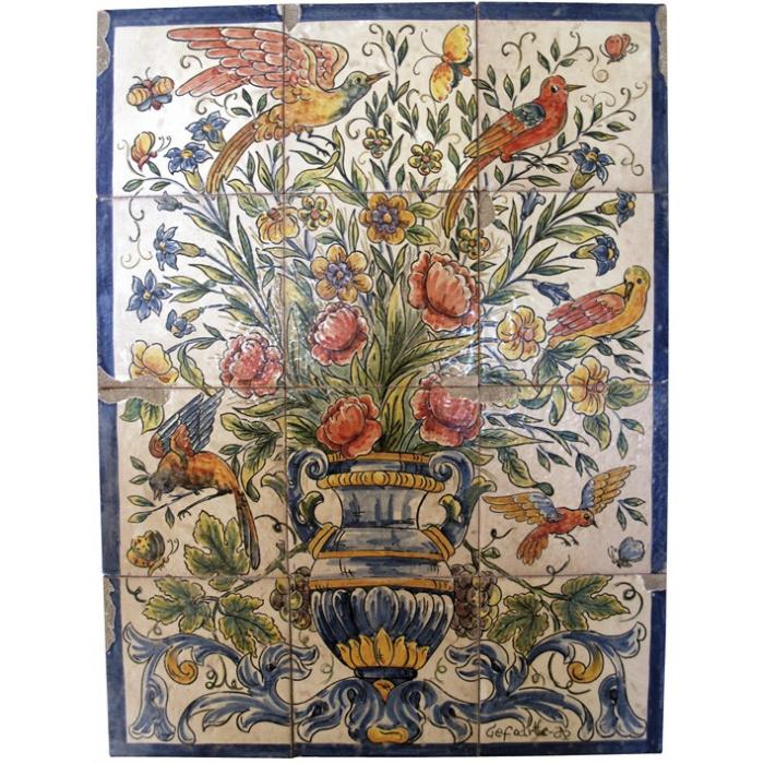 Mural flores en color azulejos pintados a mano - Murales de azulejos ...